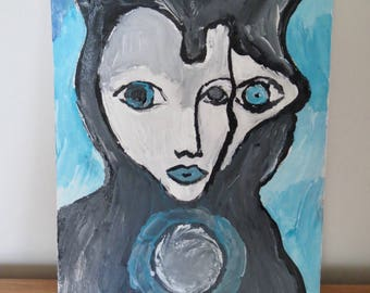 Painting Woman Cat, acrylic on cardboard, wall art, original painting, cat, woman, small painting