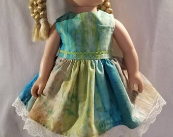 Green, turquoise and tan doll dress made to fit American Girl or other similar 18 inch dolls