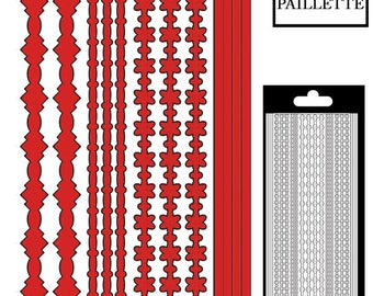 Decal border lines/flowers - red large glitter - STI13990DRE