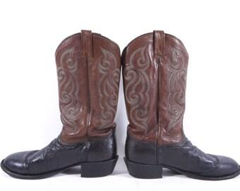 Vintage Tony Lama Leather Cowboy Boots Brown & Black Mens Size 11 D
