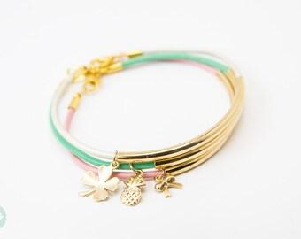 Tubo oro bracciale, Bracciale in pelle, in pelle braccialetto, bracciale, braccialetto, tubo oro, Bracciale in pelle, braccialetto di amicizia, in pelle
