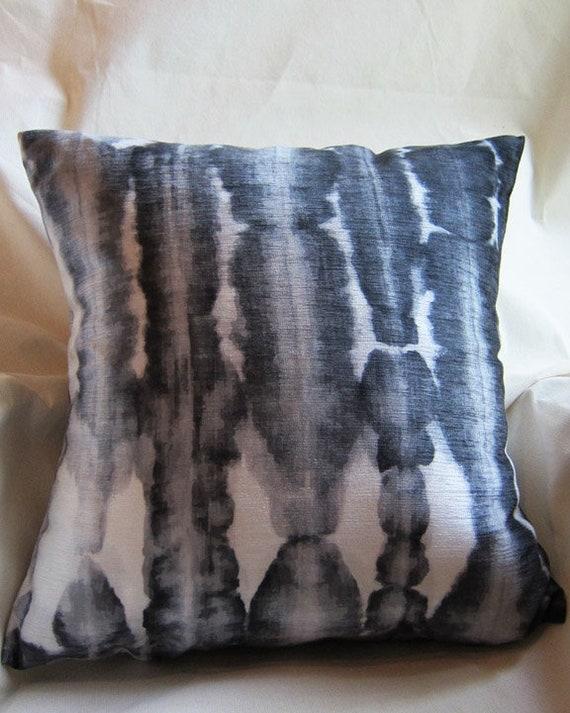 Black Shibori Pillow Cover, 18x18
