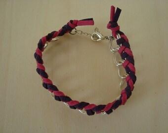 Bracelet fuschia and purple, braided chain