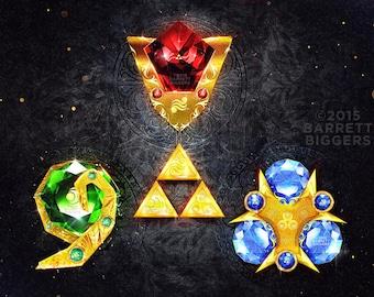 Legend of Zelda Ocarina of Time Spiritual Stones - signed museum quality giclée fine art print