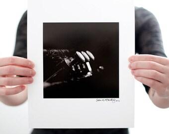 Trumpet I Photograph (6 x 6 inch Fine Art Print) Black & White Music Photography, Musical Wall Art