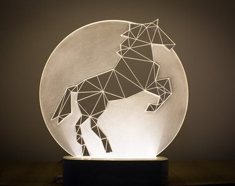 Full Moon horse lamp / Bedside Horse lamp / LED prancing nightlight / Concrete horse lamp / animal decorative lamp / Equestrian themed lamp