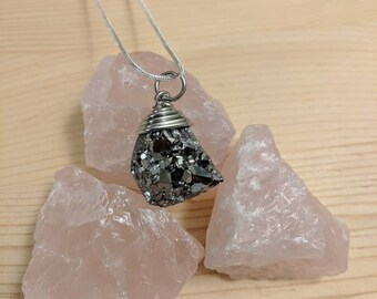 Silver Druzy Wire-Wrapped Necklace