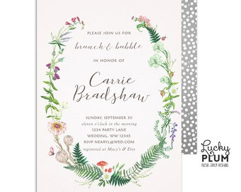 Brunch and Bubbly Invitation / Wild Flower Wildflower Bridal Shower Invitation / Greenery Meadow Botanical Green Digital Printable WF01