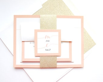 Blush and Gold Wedding Invite, Modern Calligraphy Wedding Invitations, Peach, Ivory Card Stock, Romantic Wedding Invites - Deposit