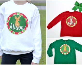 Personalized Reindeer Sweatshirts & Tees!