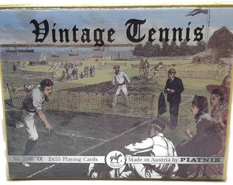 Made in Austria Piatnik Unused Vintage Tennis 2 Deck Playing Cards Set  No. 2246 Double Deck