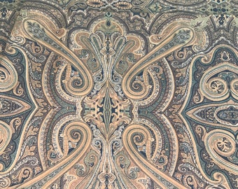 1 2/3 Yards of Vintage Taupe and Black Paisley Print Cotton Fabric