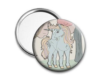 Unicorn Illustrated Pocket Mirror 76mm and packaged
