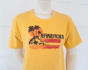 80s Vintage Barbados T Shirt Bright Tropical Vacation Caribbean Island Souvenir Tee Palm Trees Ocean