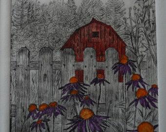Ravensong Farm  - Limited Edition Drypoint Print