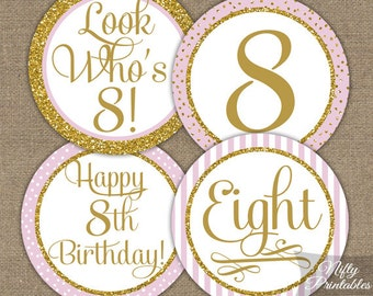 8th Birthday Cupcake Toppers - Eighth Birthday Pink & Gold Glitter Printable - DIY Girls 8th Bday Favor Tags or Eight Year Party - PGL