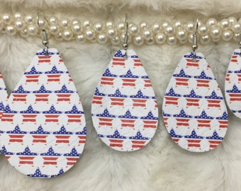 Patriotic Stars Leather Teardrop Earrings