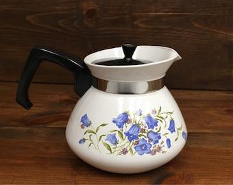 Rare Corning Ware Canterbury Blue Bells Teapot, 6 Cup, 1971