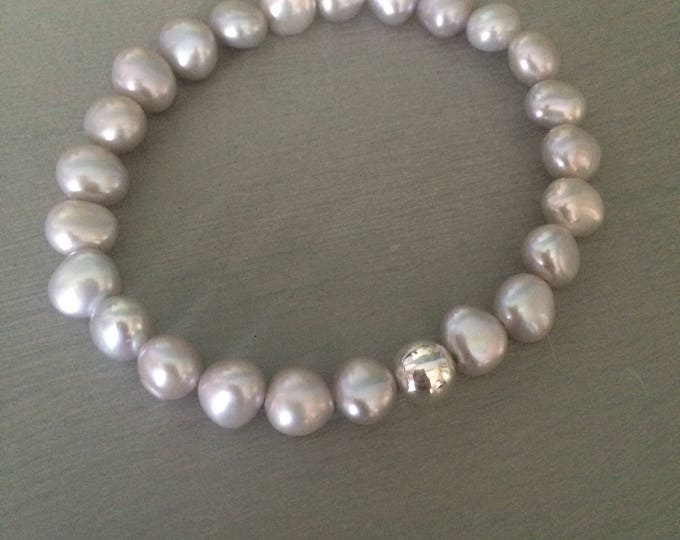 Grey Freshwater Pearl stretch bracelet Sterling Silver bead gray Baroque pearl bracelet large Pearl jewelry stacking beaded bracelet gift