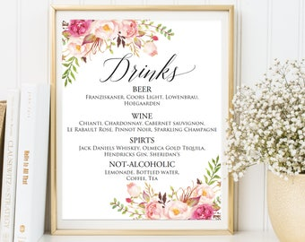 Wedding Drink Menu Template Free Tierbrianhenryco - Free printable drink menu template