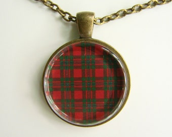 MACGREGOR Clan Scottish TARTAN Necklace -- Scottish Wedding Necklace, Bridesmaids, Hen Night, Family plaid, Friendship token