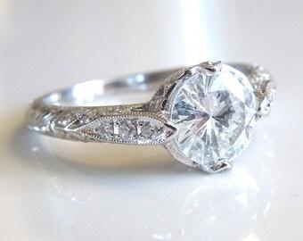 Custom Art Deco Style 1 ct Diamond Engagement Ring in White Gold