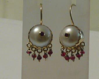 Handmade Pearl and Ruby Earrings