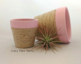 """Multicolor clay pot with rope - 3"""" / Hand decorated / Ready to ship"""