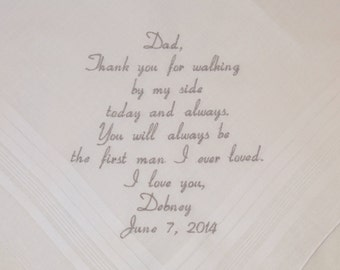 Father of the Bride Gift Embroidered Hankerchief Personalized Father Wedding Handkerchief Gift for Father of the Bride by Napa Embroidery