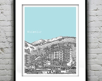 Whistler BC Poster Print City Skyline Canada Art Print British Columbia Version 2