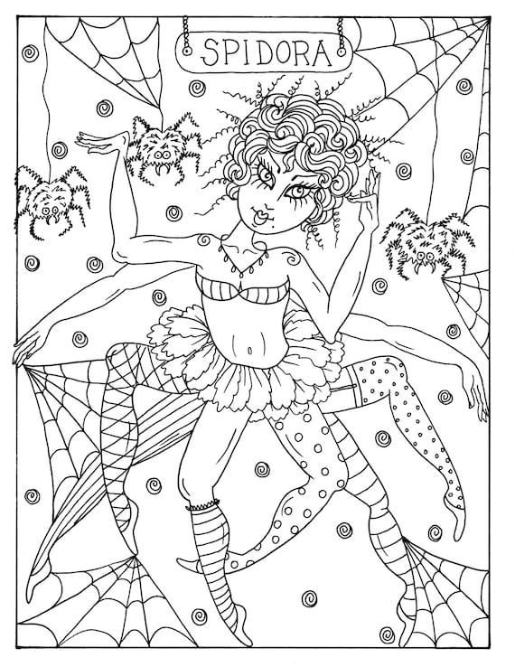 5 Seiten Goulish Mädchen Halloween Färbung Seiten Instant