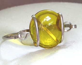 Silver Bangle Bracelet with Wire-Wrapped Recycled Yellow Glass Disc ~ Bright Yellow Glass Bracelet