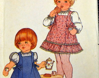 Vintage 1970's Jumper and Blouse Sewing Pattern Butterick 3527 Toddler Girls'  Size 4  Breast 23 inches  Complete