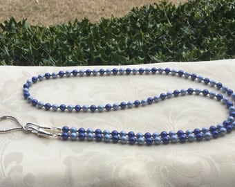 Iridescent Blue Pearl ID Badge Lanyard Swarovski Pearls Lanyard Necklace