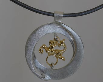 Zodiac silver  pendant with gold  astrology sign for men and for women, Made in Israel.