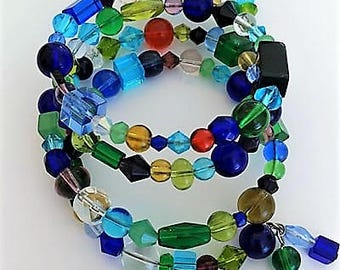 Beaded Memory Wire Wrap Around Bracelet Bangle- Blue Green Black Yellow Red Clear