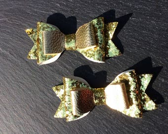 Gold Glitter Bow, Gold Bow, Sparkly Gold Bow, Glitter Bow Headband, Gold Hair Bow