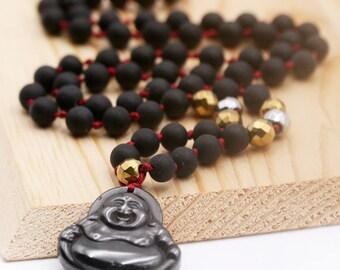 Auspicious Abundance necklace (BA) - stone needle, hematite and hematite