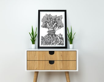 Treehouse, Giclee art print. Original drawing, Black and white art, Ink art, illustration, Ink drawing, Fine art, art print, art, drawing