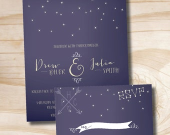 Constellation Wedding Invitation and Response Card Invitation Suite