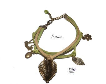 """Suede and """"Nature"""" theme charm bracelet"""