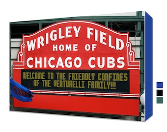"""Personalized Wrigley Field Sign Canvas Chicago Cubs Print - 32""""x20"""""""