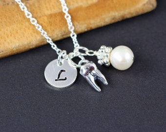 Tooth Charm Necklace Personalized Jewelry for Dentist Dental Hygienist Orthodontist Dental School Graduation Gift Sterling Silver Molar