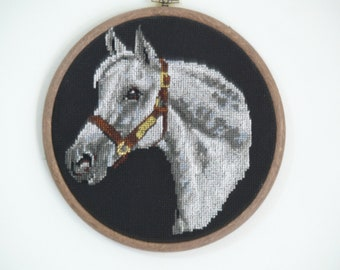 Horse head cross stitch embroidered framed painting picture.