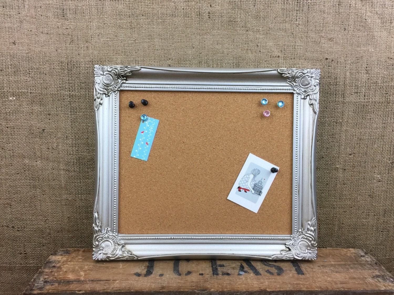 Silver framed cork board framed pin board ornate cork zoom jeuxipadfo Gallery