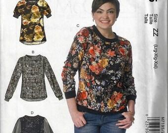 McCalls #M7195~Misses' Pullover Tops~Misses Sz 16-26~New Uncut Factory Folded