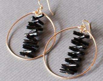 Black Coral Earrings, hoop earrings, coral jewelry, beach themed jewelry, hawaii jewelry, high school graduation, black jewelry