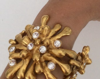 CHRISTIAN LACROIX CUFF gold coral and Swarovski crystal
