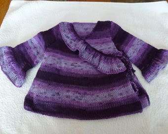 tunic wrap knitted in shades of purple to violet