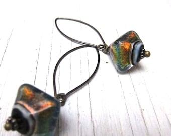 Amber Iridescent Glass Earring, Rustic Murano Glass Earrings